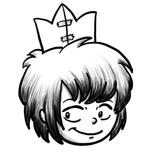 Zeichnung der Stadtkönigin mit selbstgebastelter Krone