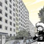 Zeichnung der Stadtkönigin im Berliner Salvador-Allende-Viertel, die frisch gebackenes Brot isst