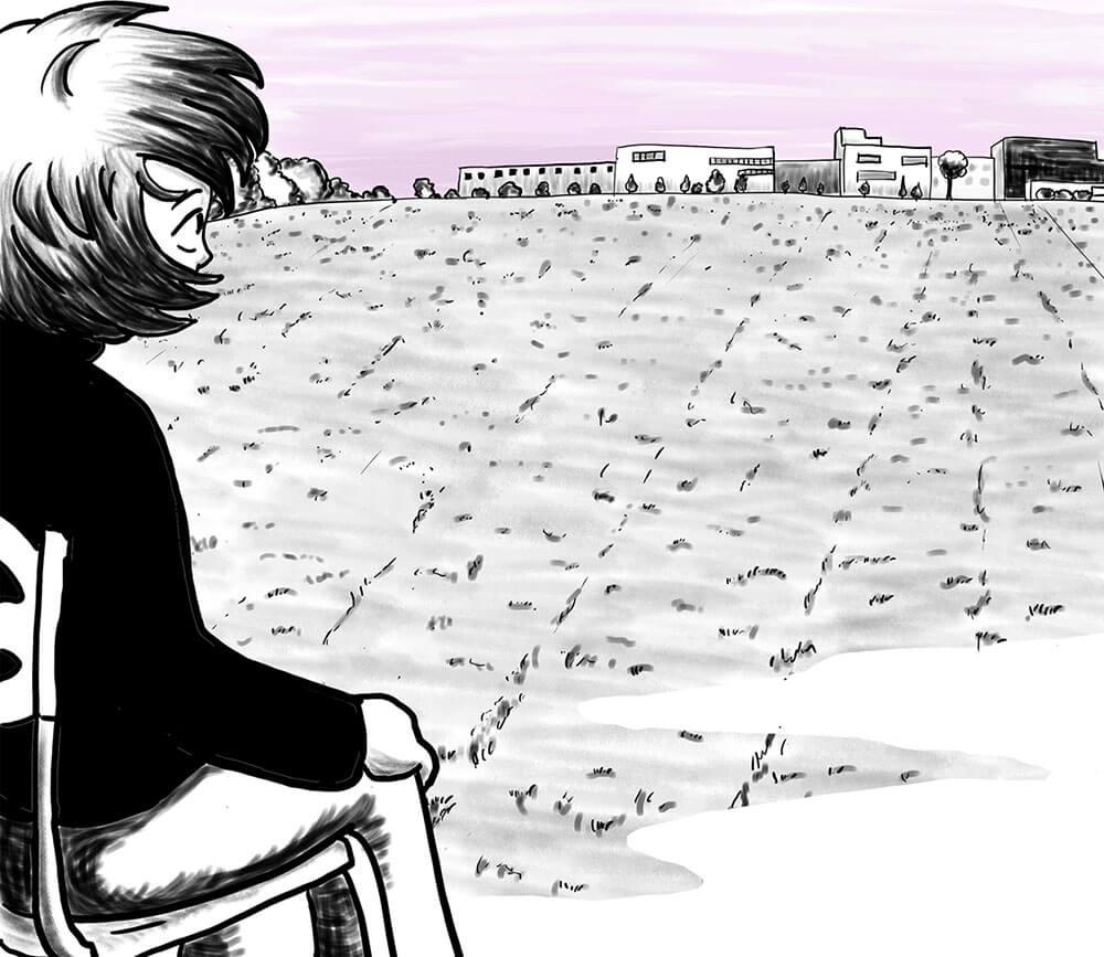 Zeichnung der Stadtkönigin, die auf einem Stuhl, den irgendwer dorthin gestellt hat ein Feld betrachtet