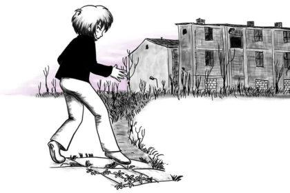 Zeichnung der Stadtkönigin, die um eine Ruine schleicht