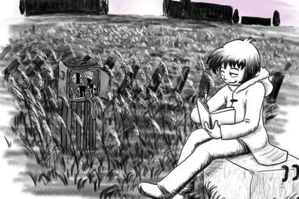 Zeichnung der Stadtkönigin, die an ihrem Lieblingsort sitzt (einem alten Bahngelände) und zeichnet
