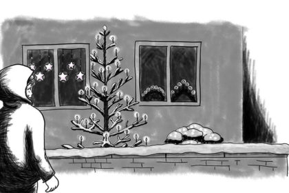 Zeichnung der Stadtkönigin, die die Lichter betrachtet, die in Gärten und Fenstern in der Weihnachtszeit aufgehängt werden