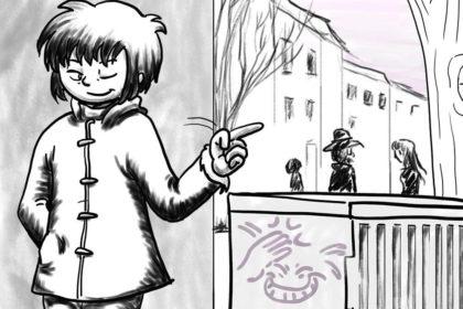 Zeichnung der Stadtkönigin, die sich einen Stromkasten als Markierung jedes Mal ansieht, wenn sie nach Hause kommt