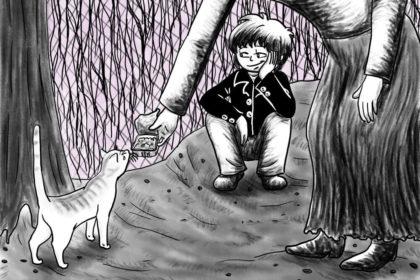 Zeichnung der Stadtkönigin, die in Berlin beobachtet, wie eine Anwohnerin eine Katze füttert