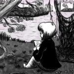 Zeichnung der Stadtkönigin, die in der Rummelsburger Bucht sitzt und übers Loslassen sinniert