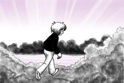 Zeichnung der Stadtkönigin, die auf Wolken im Himmel wandelt