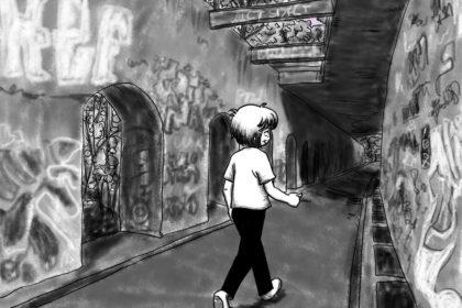 Zeichnung der Stadtkönigin, die auf einem Weg im Berliner Park am Südgelände hin und zurück geht