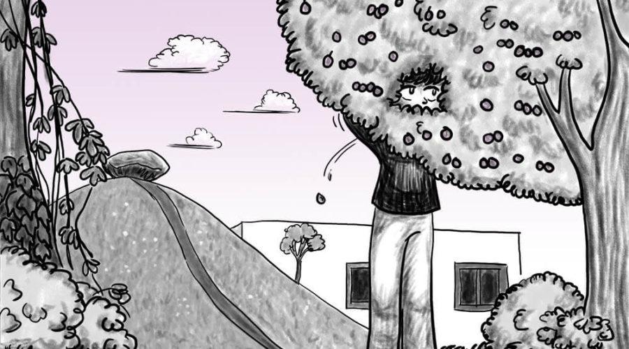 Zeichnung der Stadtkönigin, die an einem Mirabellenbaum in Berlin Mundraub betreibt