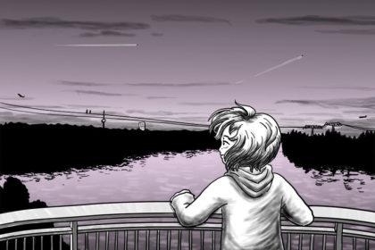 Zeichnung der Stadtkönigin, die sich bei ihrer Brückensession entspannt