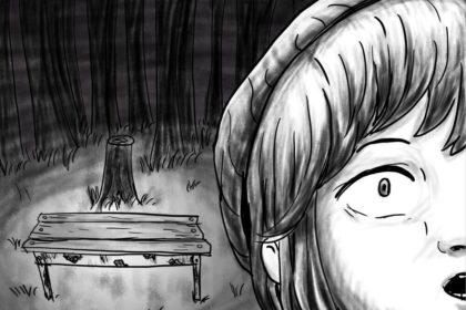 Zeichnung der Stadtkönigin, die nachts an einer gruseligen Bushaltestelle gelandet ist