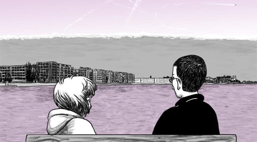Die Stadtkönigin beobachtet mit einem Freund Kondensstreifen, die wie Kometen aussehen, und eine Wolke, die wie ein Tsunami am Horizont aussieht