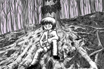 Zeichnung der Stadtkönigin beim Waldbaden auf einer Wurzel, die selbst eine kleine Landschaft erzeugt