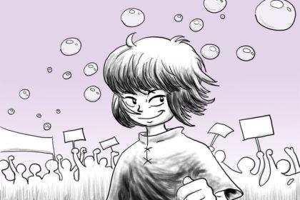 Zeichnung der Stadtkönigin auf einer Demonstration