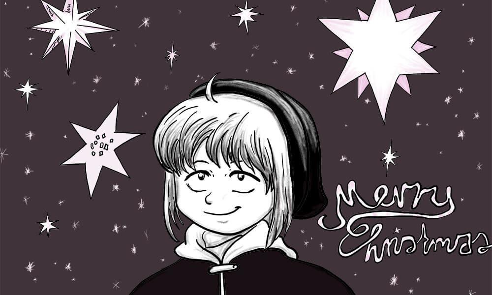 Zeichnung der Stadtkönigin unter einem weihnachtlichen Sternenhimmel