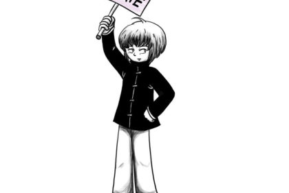 Zeichnung der Stadtkönigin, die ein Schild mit #kidlit4climate hochhält. Sie nimmt am Klimatreik teil